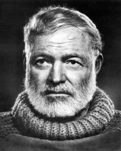 """KRT ENTERTAINMENT STORY SLUGGED: HEMINGWAY KRT PHOTOGRAPH BY YOUSEF KARSH COURTESY OF THE JOHN F. KENNEDY LIBRARY (KRT8-July 19) Photographer Yousef Karsh took this famous portrait of Ernest Hemingway in 1957. It is found in the exhibit, """"Picturing Hemingway: A Writer in His Times,"""" on view at the National Portrait Gallery in Washington, D.C., through November 7. (KRT) PL KD AP (B&W ONLY) 1999 (Vert) (jak) (Additional photos available on KRT Direct, KRT/PressLink or upon request)"""